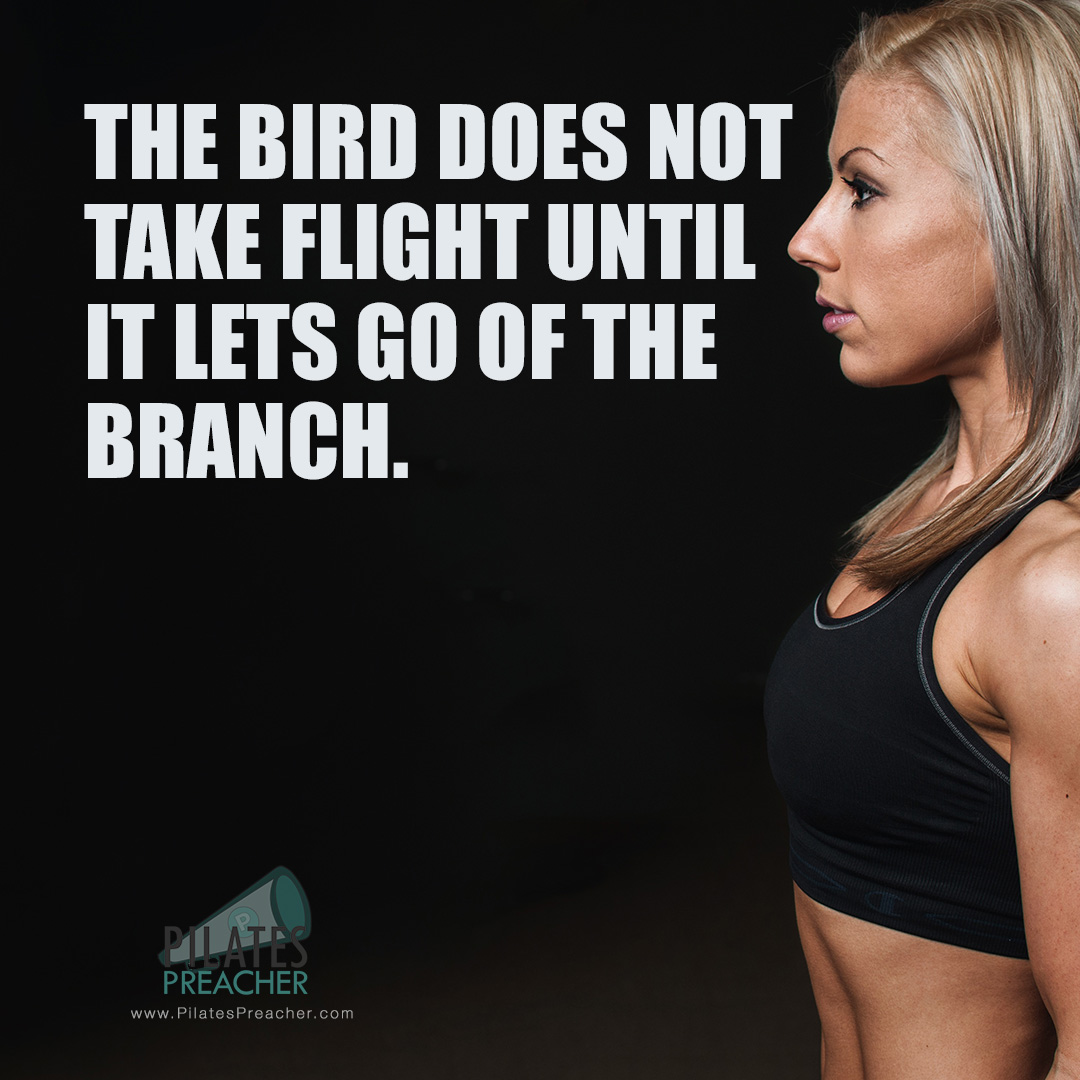 The bird does not take flight until it lets go of the branch